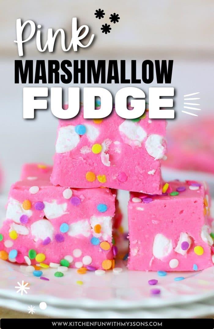 pinterest image for pink fudge