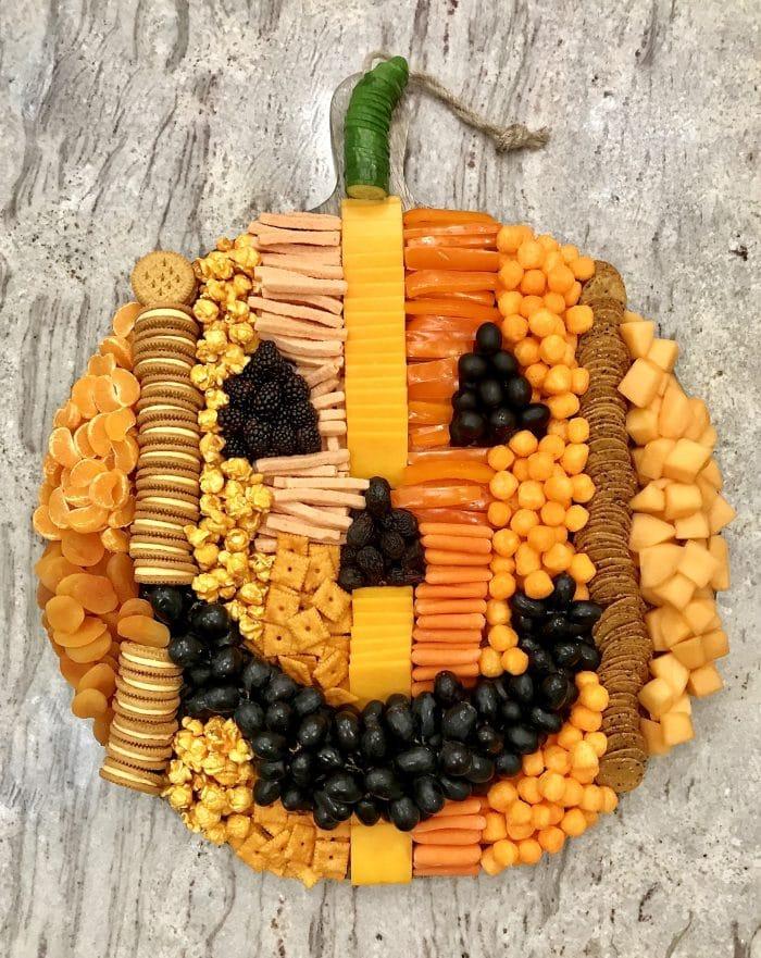 jack o lantern snack board for fall