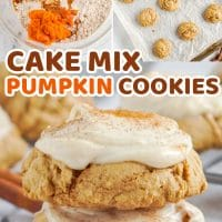 Pumpkin Cookies with Cake Mix as the base is the easiest and softest way to make a delicious fall treat. The cream cheese frosting on top make this cookie recipe amazing. #Recipes #Dessert #Cookies #Fall
