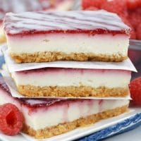 The white chocolate raspberry bars stacked on each other.
