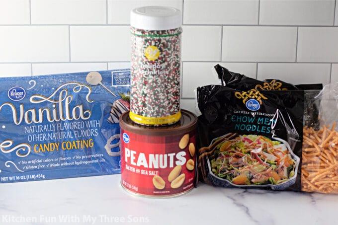 ingredients to make White Chocolate Peanut Haystack Cookies.