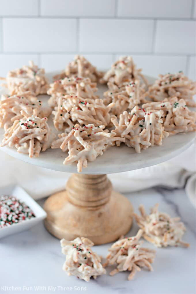 White Chocolate Peanut Haystack Cookies displayed for Christmas snacking.