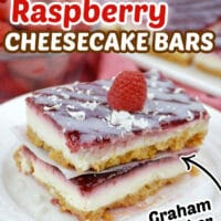 You're going to love Raspberry Cheesecake Bars! Layers of raspberry preserves, creamy white chocolate cheesecake with a graham cracker crust.